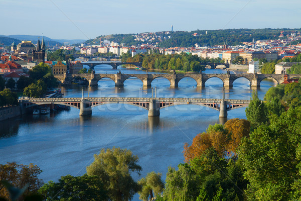 Bruggen Praag rivier Tsjechische Republiek hemel gebouw Stockfoto © neirfy