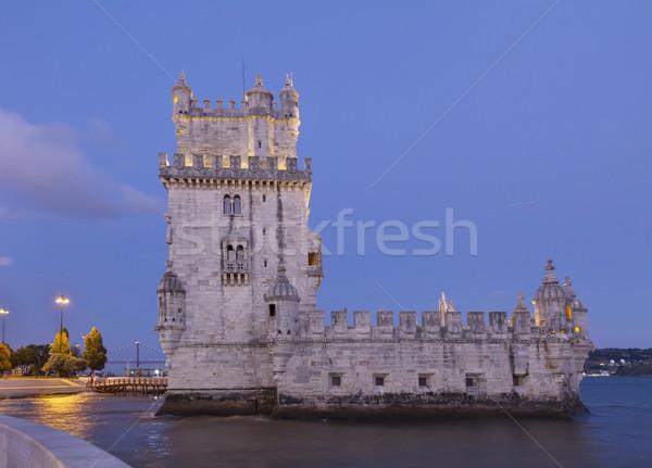 Lisboa Portugal azul noche mojón cielo Foto stock © neirfy