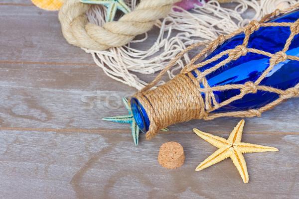 コンパス 漁網 ボトル 海洋 ロープ 木製 ストックフォト © neirfy
