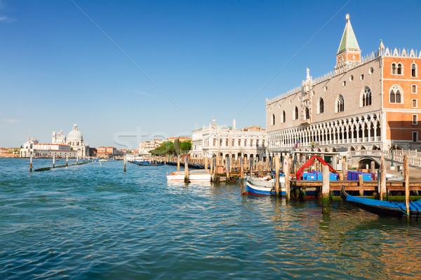Gondolas  and Doge palace, Venice, Italy Stock photo © neirfy