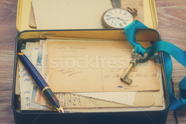 Stock fotó: Doboz · klasszikus · postaláda · posta · antik · óra