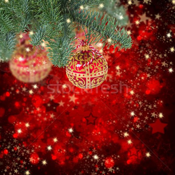 Natale palla impiccagione evergreen albero luminoso Foto d'archivio © neirfy