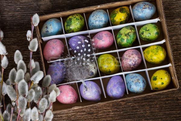 Stock foto: Eier · Feder · Essen · Farbe · Geschenk