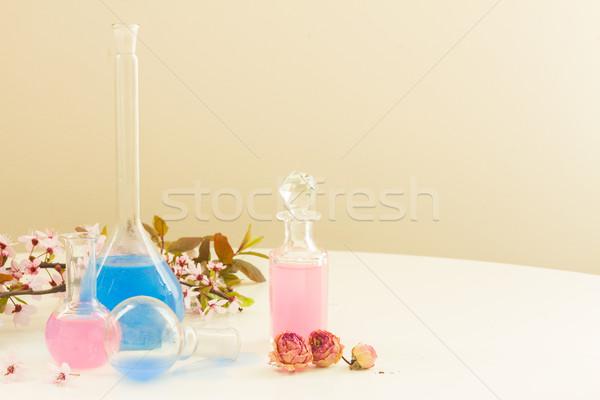 Aromaterapi kuru çiçekler şişeler yağ yaprak Stok fotoğraf © neirfy