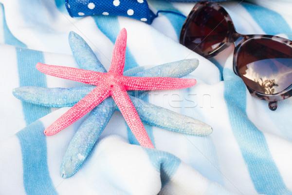 Toalla de playa sombrero a rayas estrellas de mar sol gafas Foto stock © neirfy