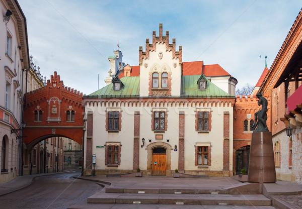 Múzeum könyvtár Krakkó Lengyelország óváros égbolt Stock fotó © neirfy