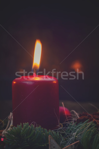 Krans brandend kaarsen evergreen Stockfoto © neirfy