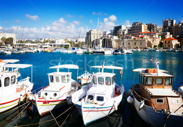 Stock photo: old port of Heraklion, Crete, Greece