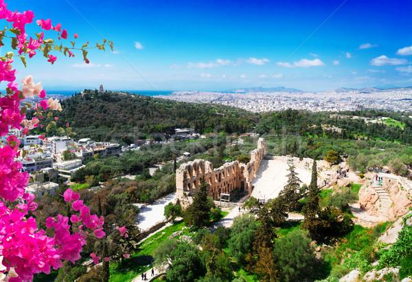 Anfiteatro Acrópole Atenas cityscape Grécia flores Foto stock © neirfy