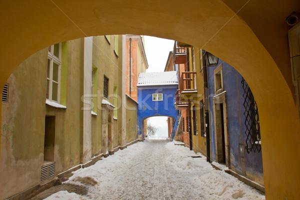Oude binnenstad winter Warschau Polen kleurrijk klein Stockfoto © neirfy