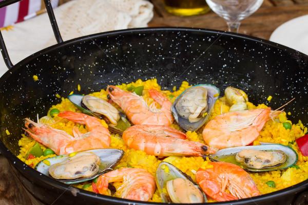 Paella close up -traditional spanish dish Stock photo © neirfy