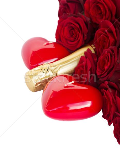 Stock fotó: Valentin · nap · rózsák · gyertya · szívek · vörös · rózsák · gyertyák