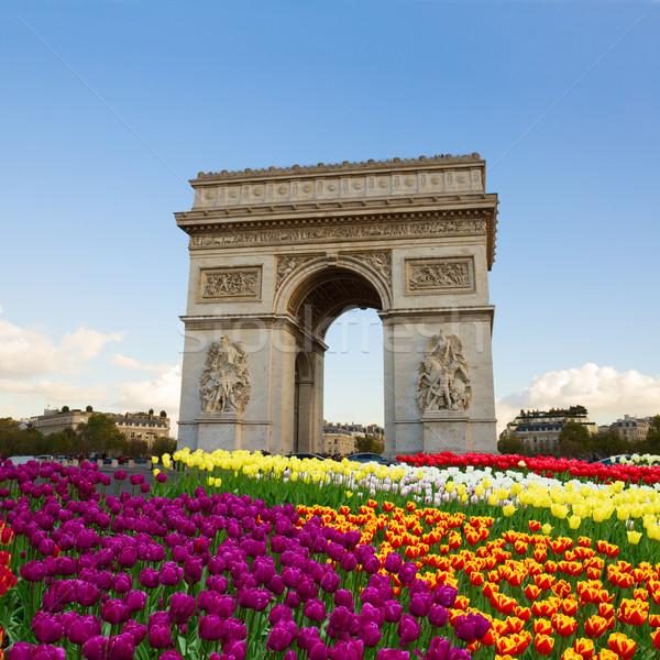 凱旋門 パリ フランス 春 日 花 ストックフォト © neirfy