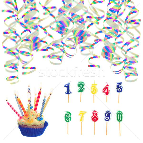 Sapkák születésnapi buli izolált fehér születésnap kék Stock fotó © neirfy
