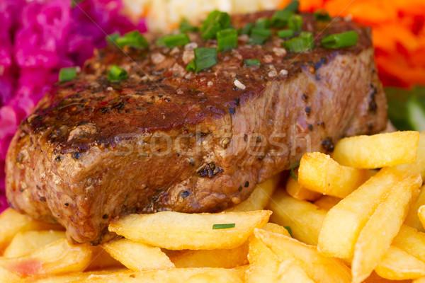 Сток-фото: мяса · стейк · картофель · фри · обеда · томатный