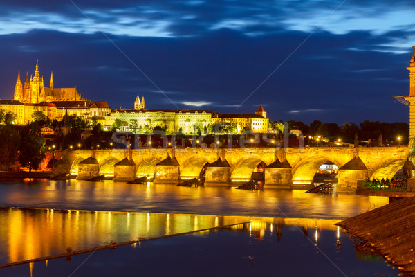 skyline of Prague with Charles bridge at night Stock photo © neirfy