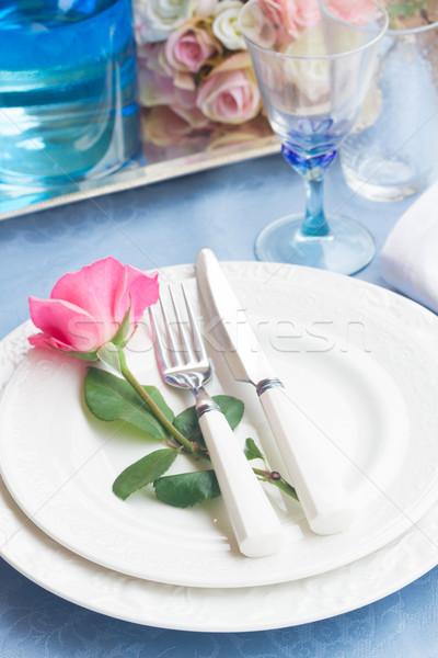 посуда набор пластин закрывается синий Сток-фото © neirfy