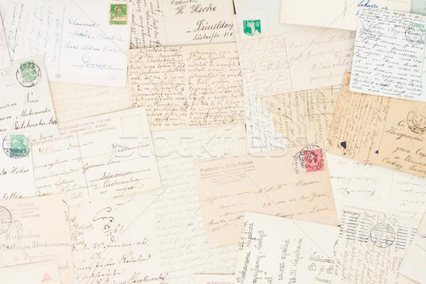 Stock fotó: Kézzel · írott · levél · szett · antik · levelek · öreg