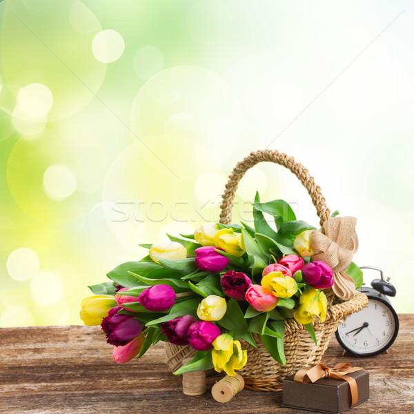 Buquê amarelo roxo tulipa flores fresco Foto stock © neirfy