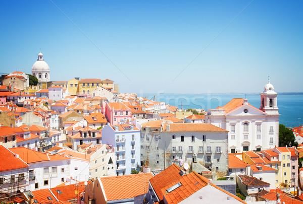 Vista Lisboa Portugal barrio antiguo retro Foto stock © neirfy