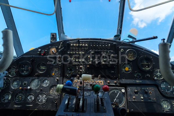 Vintage avion tableau de bord vue boussole Photo stock © neirfy