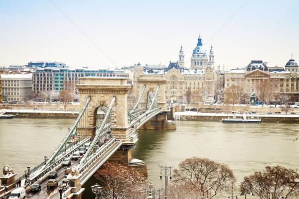 Chain Bridge ,Budapest, Hungary Stock photo © neirfy