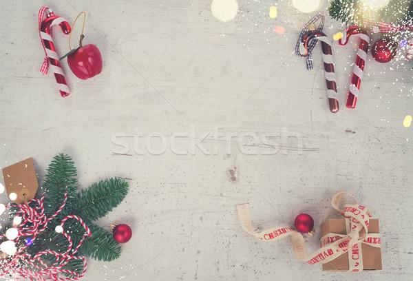 Stock photo: Christmas flat lay styled scene