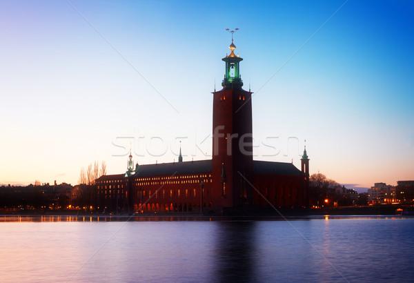 Stockholm Svédország város előcsarnok éjszaka retro Stock fotó © neirfy