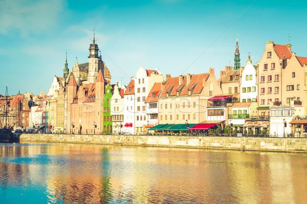 Vieille ville bord de l'eau gdansk Pologne rétro eau Photo stock © neirfy