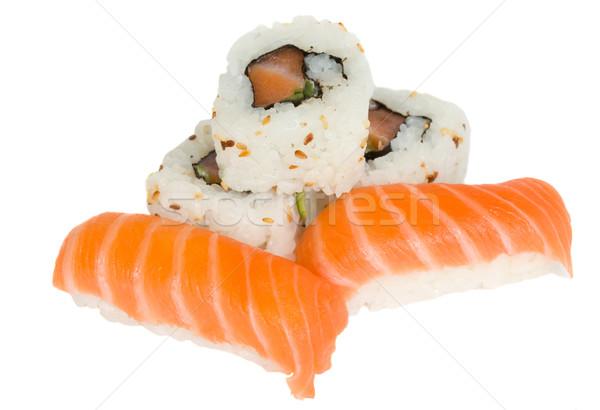 Sushi plato aislado blanco alimentos peces Foto stock © neirfy