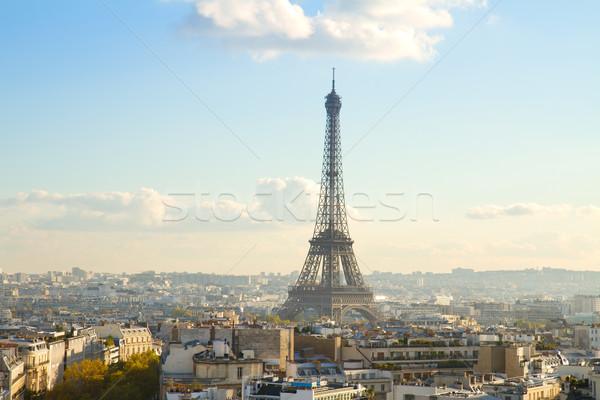 Eiffel turné Párizs városkép napos idő Franciaország Stock fotó © neirfy