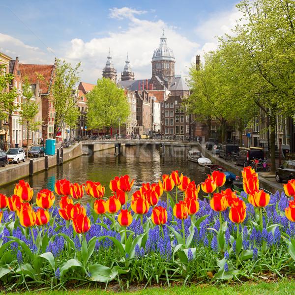 Stockfoto: Kerk · Amsterdam · oude · binnenstad · kanaal · Nederland · hemel