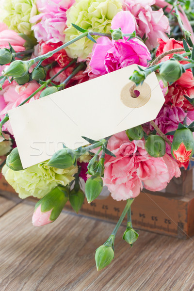 carnation flowers with empty tag Stock photo © neirfy