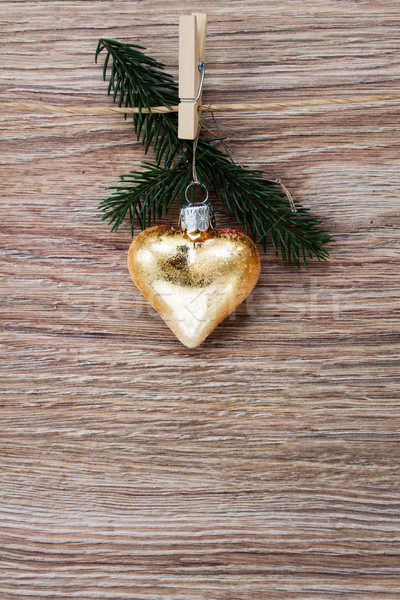 christmas golden heart with green  twig Stock photo © neirfy