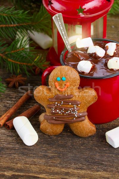 Zdjęcia stock: Gingerbread · man · jeden · tradycyjny · domowej · roboty · drewniany · stół