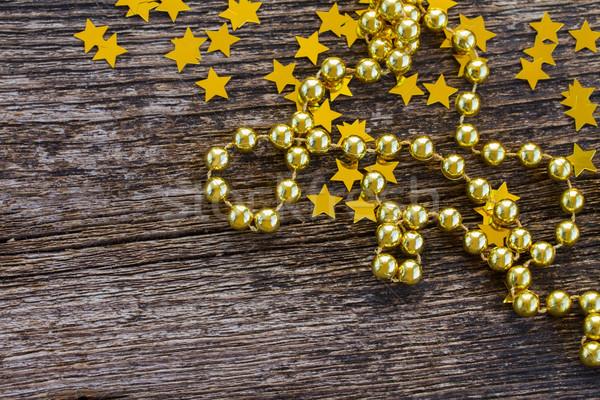 Noel Yıldız ahşap parlak altın boncuk Stok fotoğraf © neirfy
