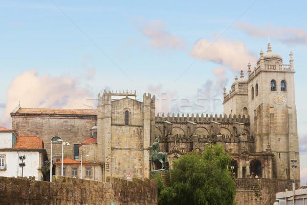 Cattedrale Portogallo vecchio chiesa casa città Foto d'archivio © neirfy