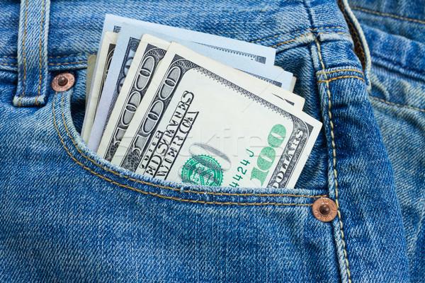 Stock fotó: Dollár · pénz · zseb · 100 · dollár · bankjegyek · farmer