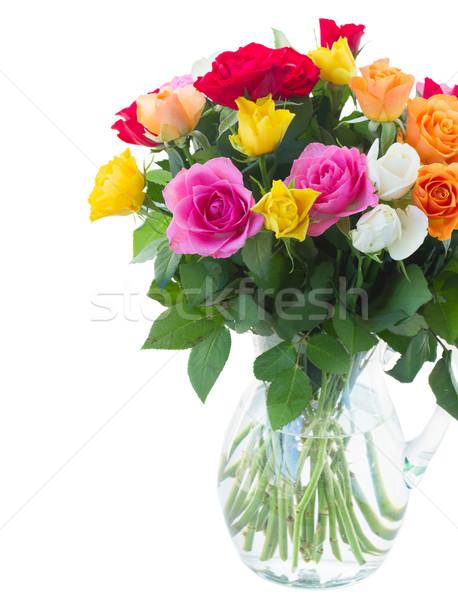 Buquê fresco rosas rosa amarelo laranja Foto stock © neirfy