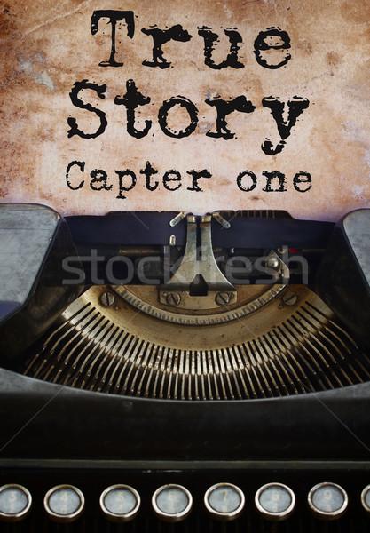 Máquina de escribir historia negro vintage edad manchado Foto stock © neirfy