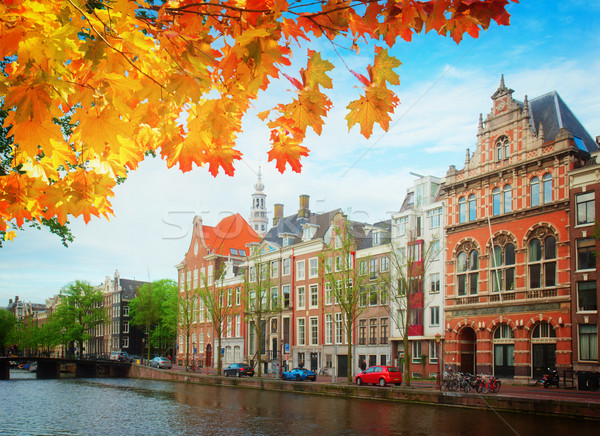 Сток-фото: старые · домах · Амстердам · Нидерланды · канал · ретро