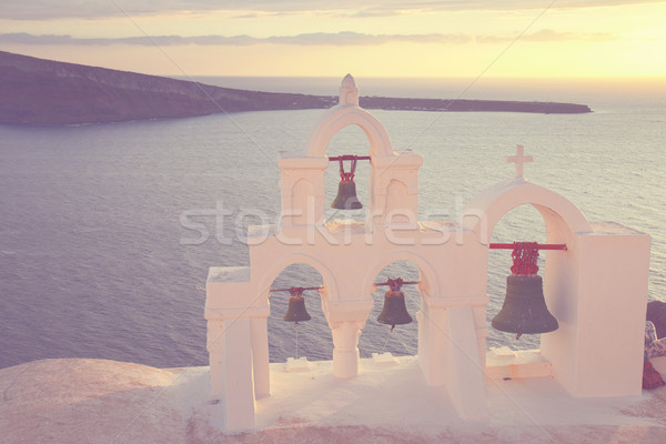white  belfry, Santorini island, Greece Stock photo © neirfy
