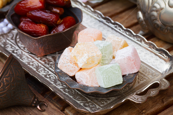 Lumps of Lokum or Turkish Delight Stock photo © neirfy