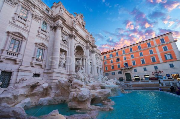 Сток-фото: фонтан · Рим · Италия · Восход · свет · небе