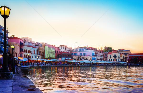 Venetiaanse turks moskee kleurrijk zonsondergang Griekenland Stockfoto © neirfy
