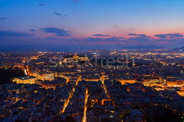 Stadsgezicht Athene nacht Griekenland panoramisch heuvel Stockfoto © neirfy