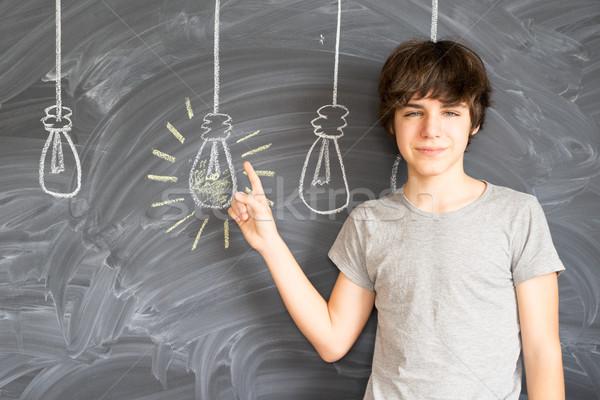 Stockfoto: Tiener · jongen · idee · teen · terug · naar · school · onderwijs