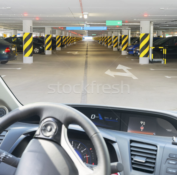 Coche carretera conducción rueda salpicadero sótano Foto stock © neirfy