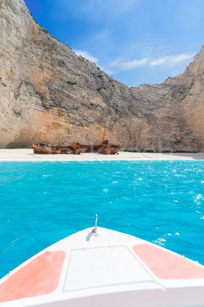 美しい 島 ビーチ さびた 船 ボート ストックフォト © neirfy