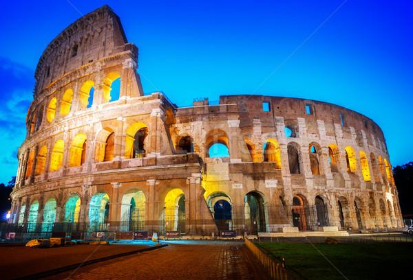 Colosseum görmek mavi gece Retro Stok fotoğraf © neirfy